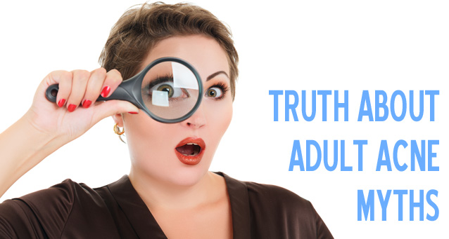 The Truth About Adult Acne Myths | Woman looking through a magnifying glass looking surprised | Jiva-Spa-Toronto-anti-aging-facials-beauty-spa-salon-skin-rejuvenation-medispa